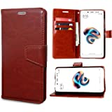 unisTuff Impact Resistant Artificial Leather Wallet Folio Flip Cover with Magnetic Loop for Mi Redmi Note 5 Pro (Executive Brown)
