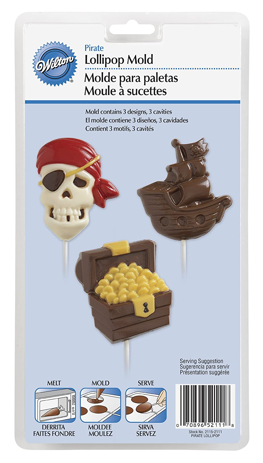 Amazon.com: Wilton 2115-2111 Pirate Lollipop Mold, Large, 3 Designs: Kitchen & Dining