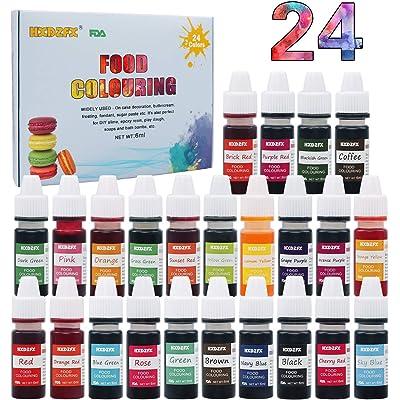 Colorante alimentario 24 colores, Colorante Alimentario Alta Concentración Liquid Set para Colorear los Bebidas Pasteles Galletas Macaron Fondant(6ml)