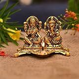 Collectible India Laxmi Ganesh Idol Showpiece Oil Lamp Diya Deepak - Metal Lakshmi Ganesh Statue - Diwali Home Decoration Items - Lakshmi Ganesh for Diwali puja
