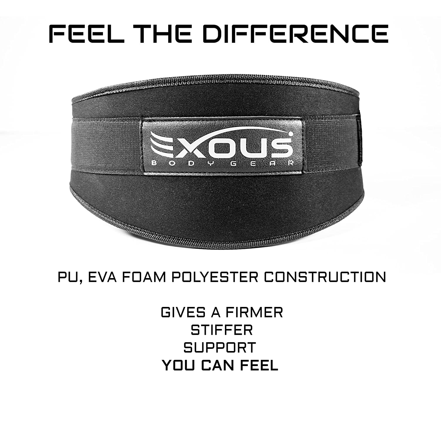 EXOUS Bodygear Performance Weight Lifting Belt 5.5inch Lumber Back Support – Adjustable Velcro Ergonomically Shaped for Squats, Power Lifting – Olympic Lifts