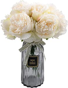 famibay 10 PCS Artificial Peony Bouquets Floral Vantage Fake Peony Silk Flower Leaf with Plastic Stem for Home Decoration Wedding Party Garden Hotel Off-White