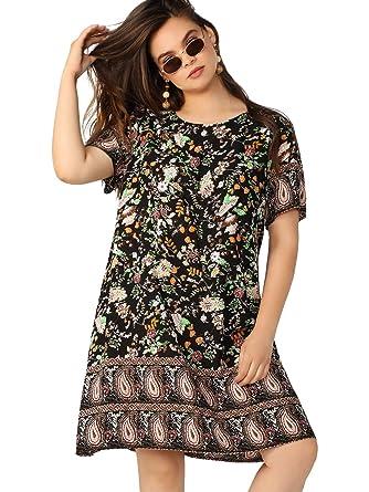 46d0b661fc SheIn Women's Summer Short Sleeve Plus Size Floral Print Boho Tunic Dress  Black 0XL