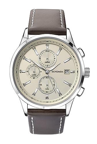 f2727ade8765 Sekonda Watches Mens Multi dial Quartz Leather Strap 1394.27: Amazon.co.uk:  Watches
