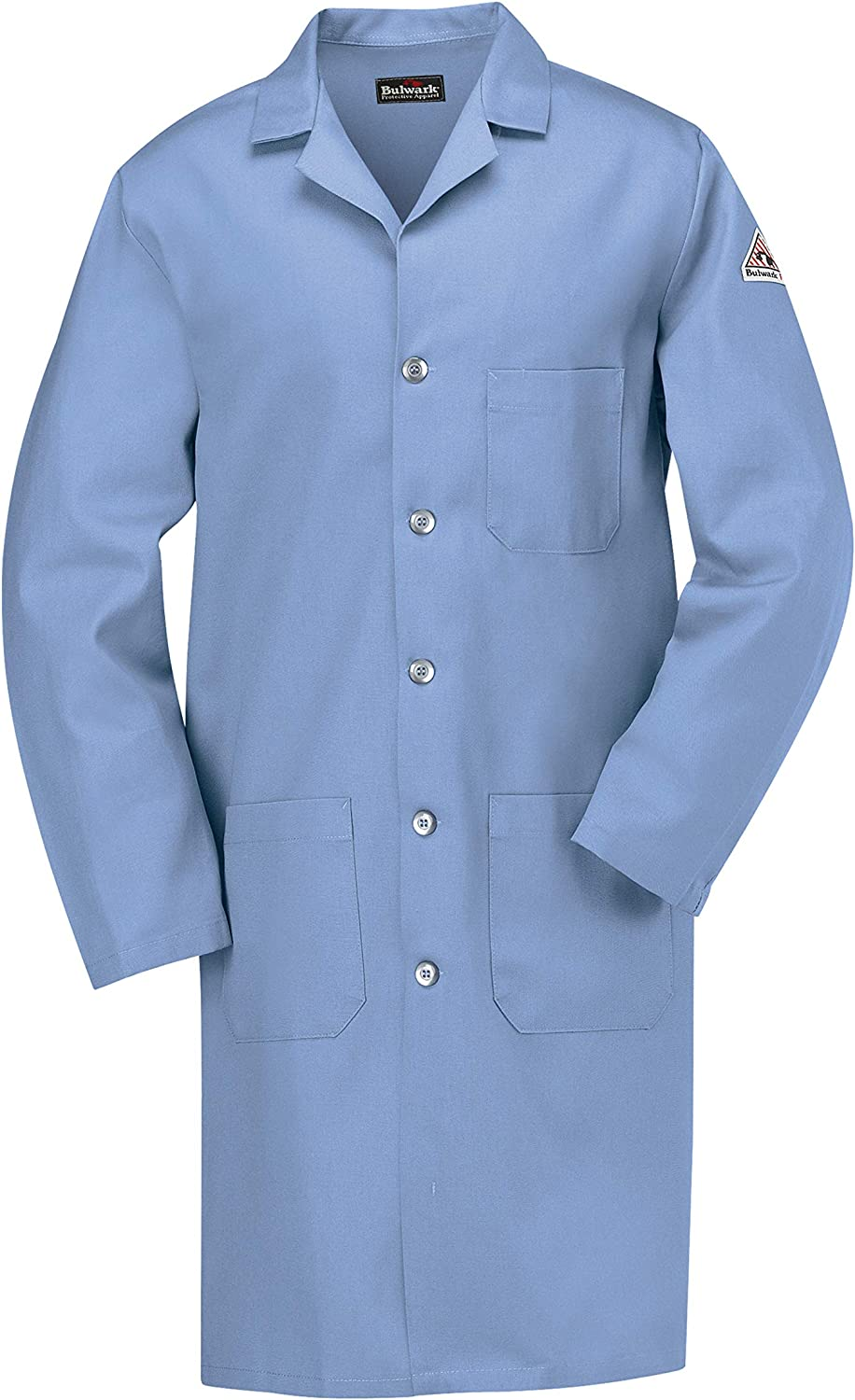 Bulwark Flame Resistant 7oz Cotton Lapel Collar Lab Coat: Clothing