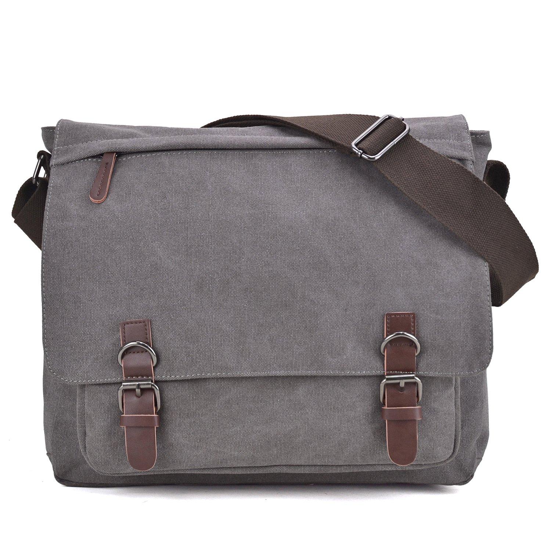 407c87f5531a Amazon.com | Large Vintage Canvas Messenger Shoulder Bag Causal Crossbody  Bookbag Computer Laptop Bag Business Briefcase for 15