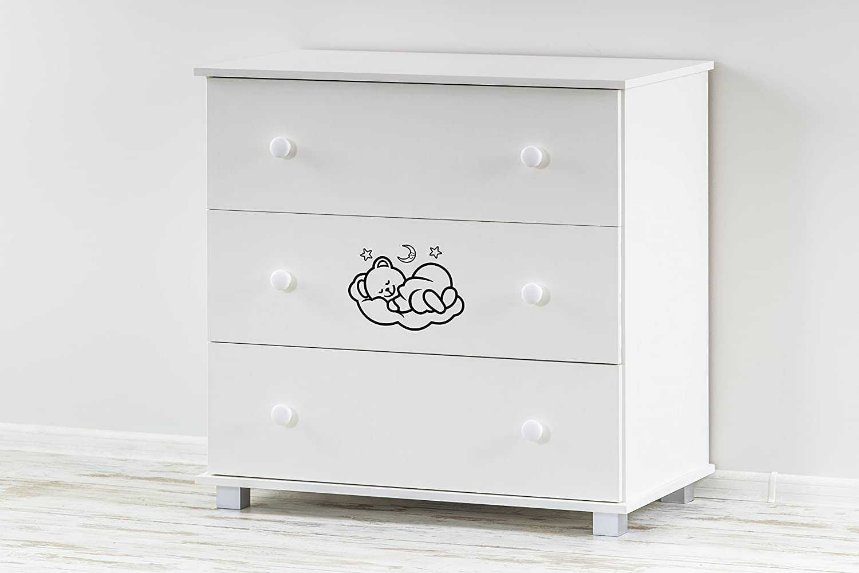 Baby Kommode Babyzimmer Schublade 85 x 86 x 48 cm Weiß ekmTRADE