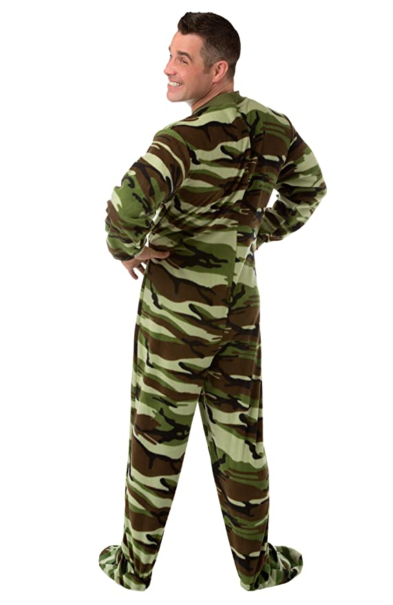 Big Feet Pajama Camouflage Micro Polar Fleece Adult Footed Pajamas Onesie  with Drop Seat 208-DS 87592eb6e