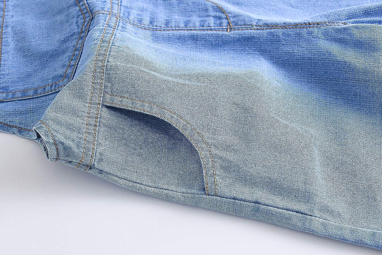 Kidscool Baby /& Toddler Girls//Boys Big Bibs Ripped Summer Jeans Shortalls,Light Blue,18-24 Months