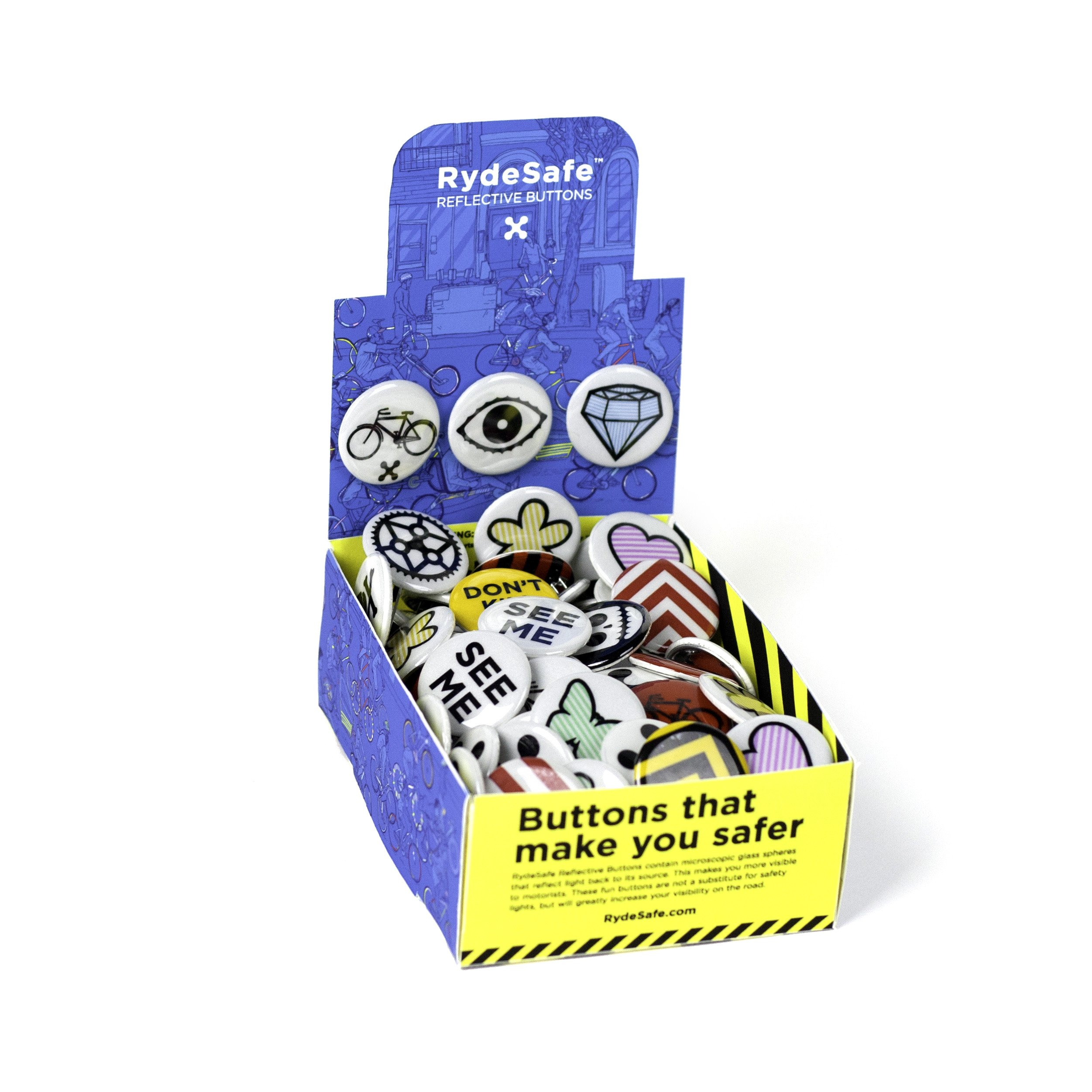 RydeSafe Reflective Button Box (120 Buttons), Assorted