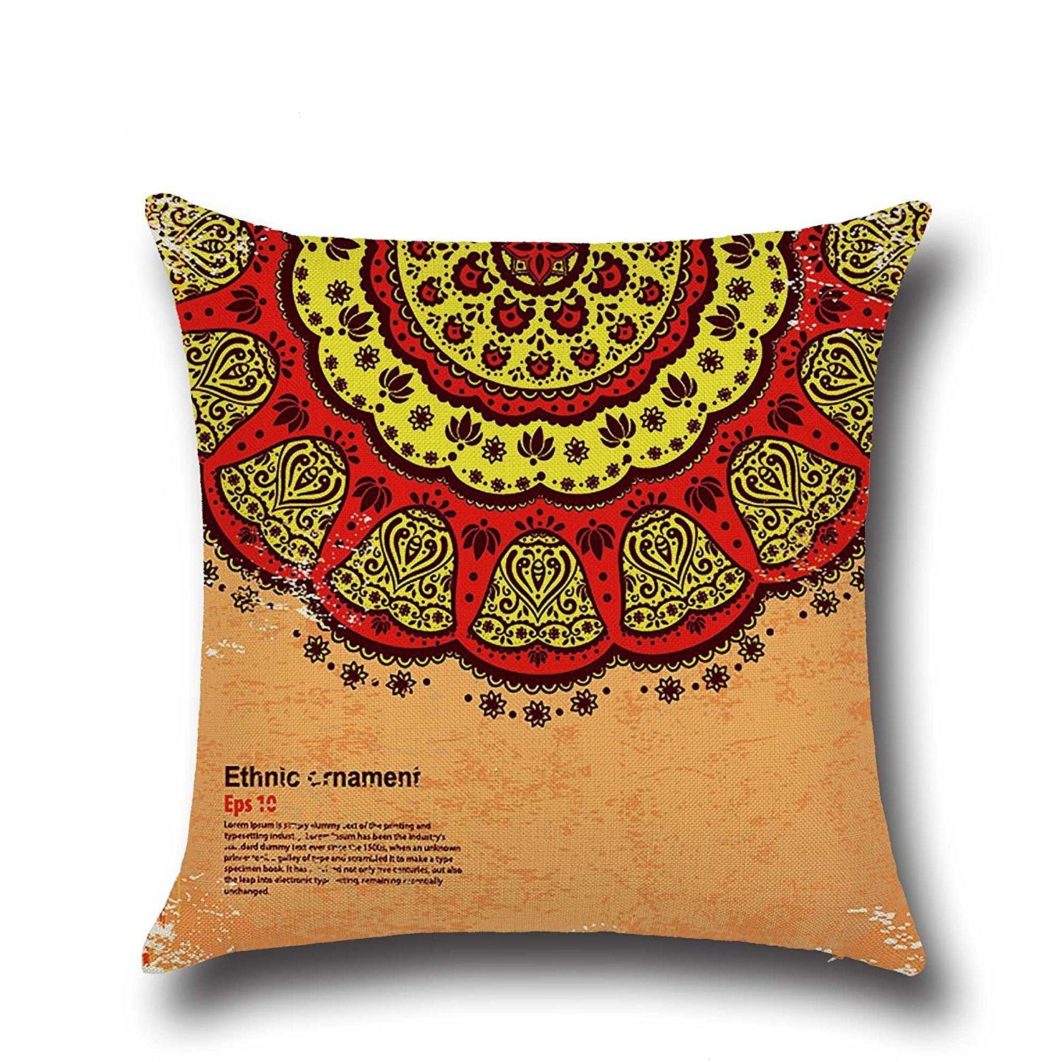 HOMEE Stylish and Fantastic Sunset Shanshui Flower-Pattern Cambodia and Thailand India Southeast Asia Style ,4545Cm,01 Pillow,04,4545cm