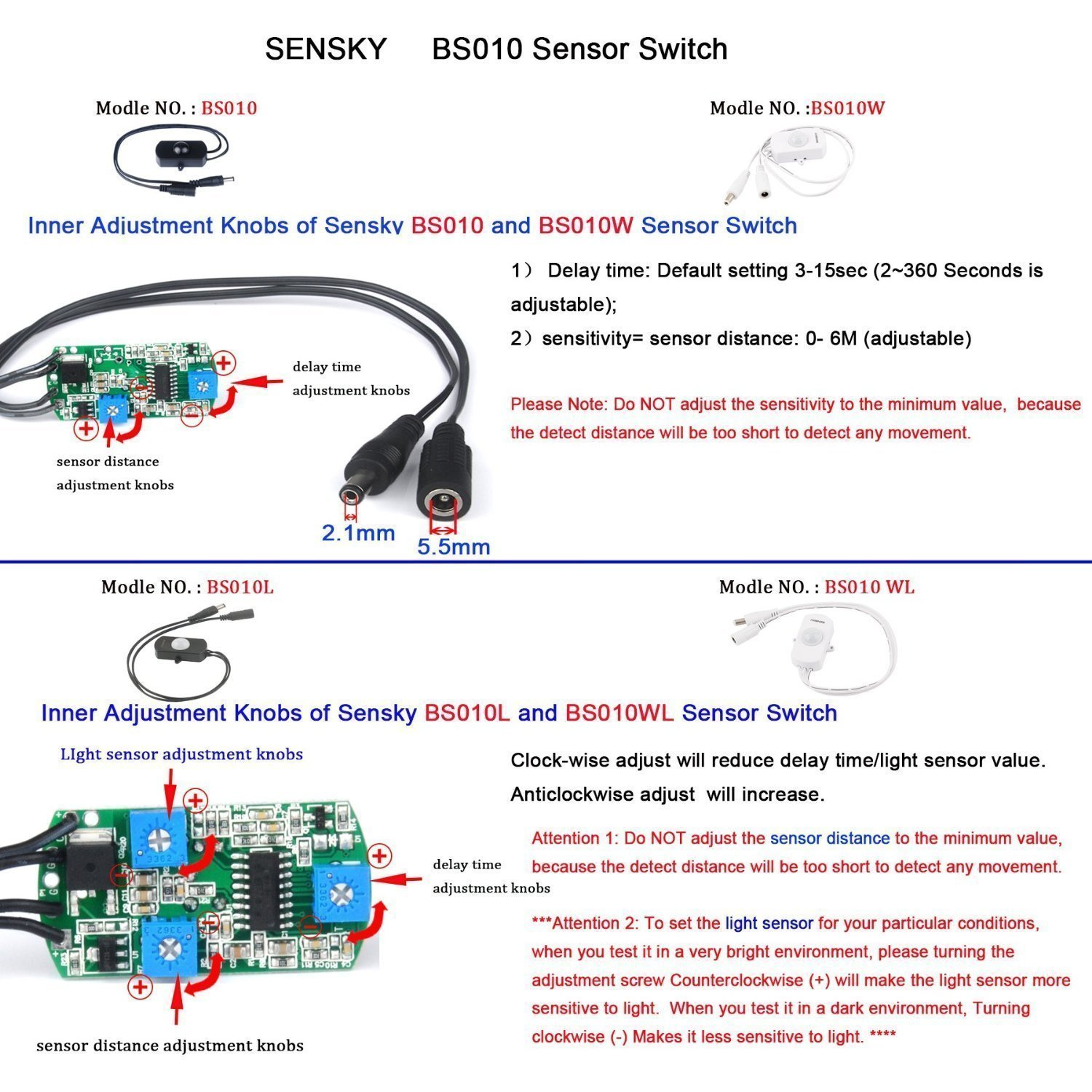 Sensky Bs010 12v 24v 3a Pir Motion Sensor Long Distance Sensitive Ir Switch Circuit Time Adjustable Small Senser White Cover And Lens