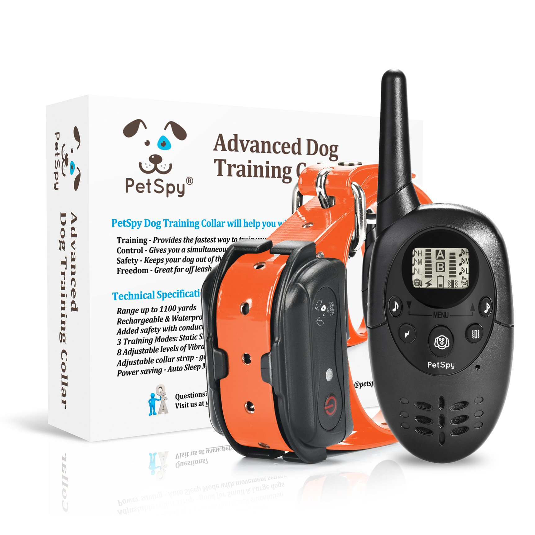 PetSpy M86N Dog Training Shock Collar for Dogs with Vibration Electric Shock and Beep Rechargeable and Waterproof Remote Trainer (10-140 lbs) by PetSpy