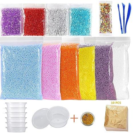 Kinxor 15 Pack Kit para hacer Slime, Pecera abalorios, Contenedores de almacenamiento de pelotas de espuma, ...