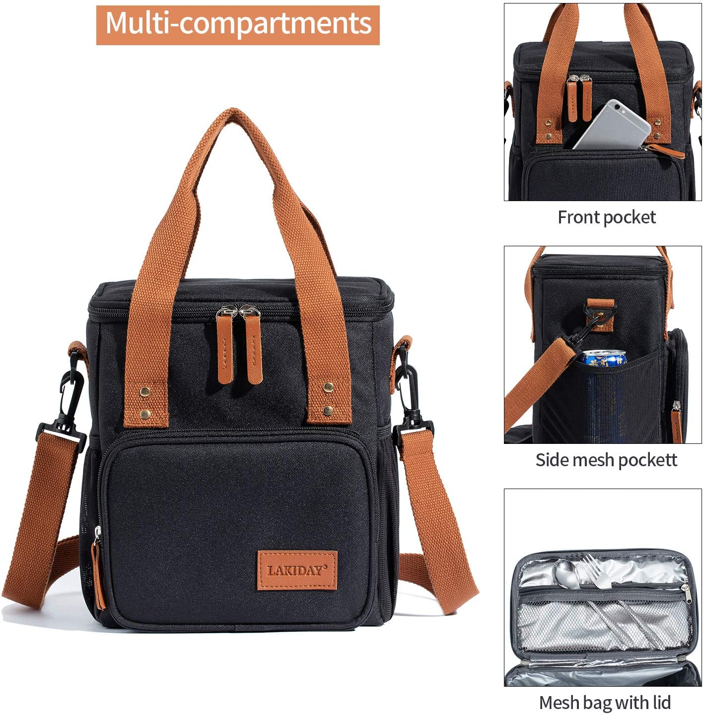 LAKIDAY Insulated Lunch Bag for Women//Men//Kids Reusable Lunch Tote Box Container with Adjustable Shoulder Strap Leakproof for Work//Picnic//Hiking//Beach//Fishing Dark Gray-2