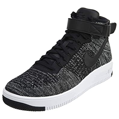 70729b4926b7 Nike Men s AF1 Ultra Flyknit Mid Black Black White Basketball Shoe 8 Men  US  Buy Online at Low Prices in India - Amazon.in