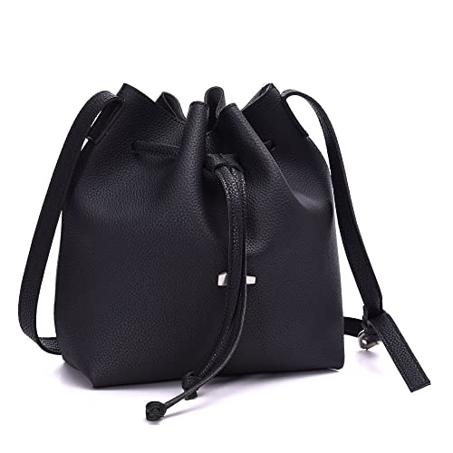 0a0be4737033 Drawstring Bucket Bags 2 Pieces Set, Artmis Women Small Cross-body Purses  PU Leather