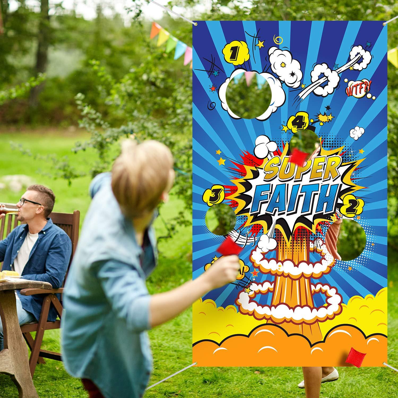 Lustiges Indoor und Outdoor Held Werfen Spiele f/ür Kinder und Erwachsene Held Thema Party Dekorationen und Party Lieferanten Blulu Held Sitzs/äcken Werfen Spiele mit 3 Sitzs/äcken