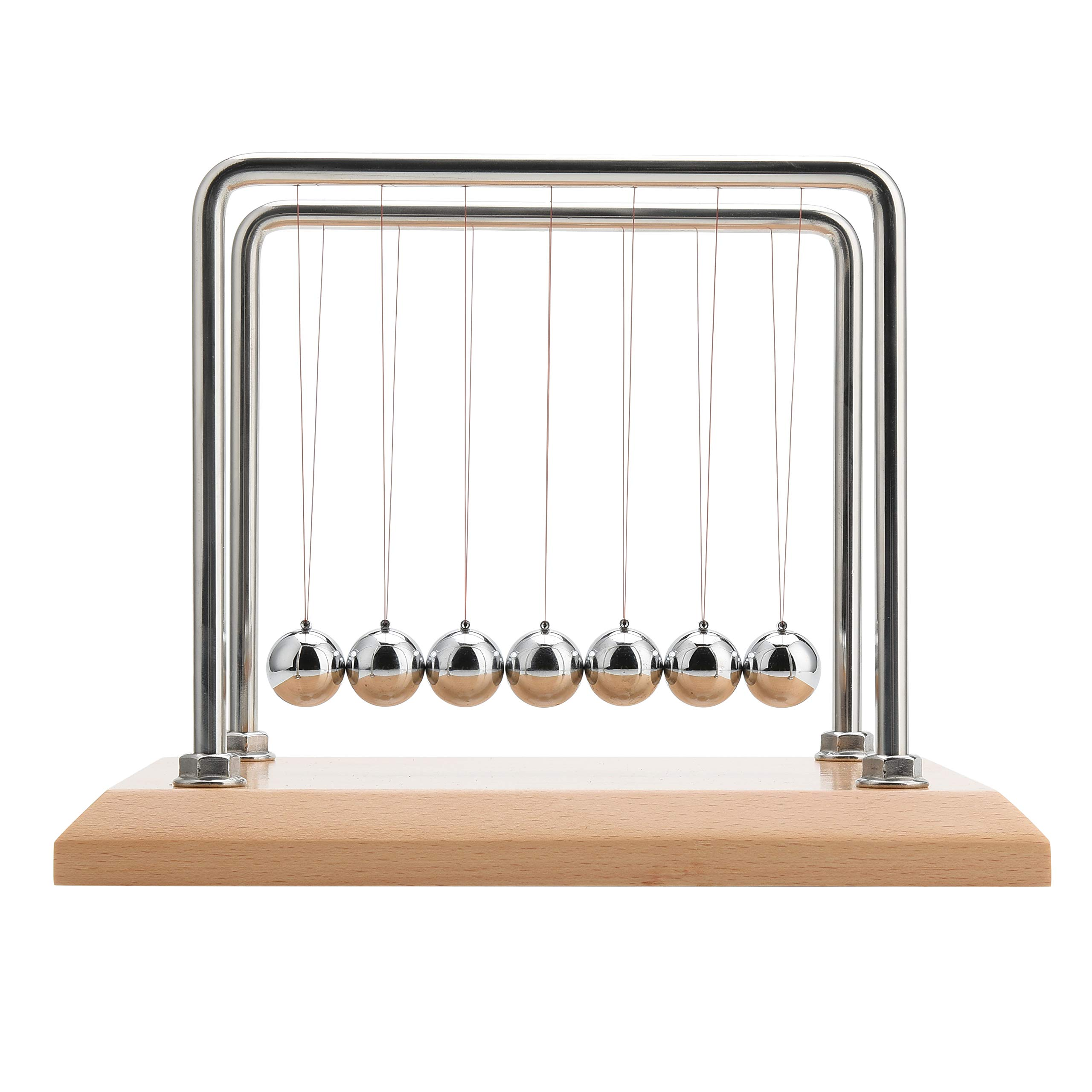 CERROPI 7 Balls Newton's Cradle - 11 Inch,Swing 50 Sec, 8mm Stainless Steel Frame, Nano-Tech String, Beech Base