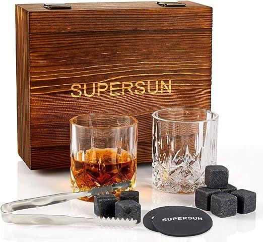 SUPERSUN Set de Regalo de Piedras y Cristal de Whisky, 8 Piedras Heladas de Granito Whisky y 2 Vasos de Whisky, Piedras de Cubitos de Hielo ...