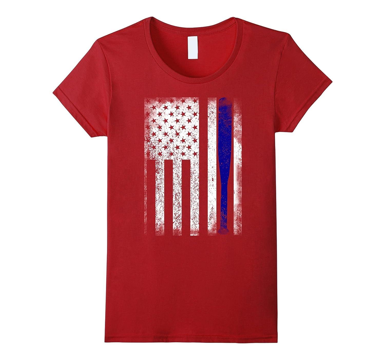 Baseball Bat USA Flag Retro Men Women Shirt