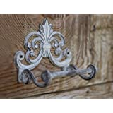 "Fleur De Lis Cast Iron Toilet Paper Roll holder - Cast Iron Wall Mounted Toilet Tissue Holder - European Vintage Design - 6.75"" x 6.25"" x 4.25"" - With Screws And Anchors by Comfify (Antique White)"
