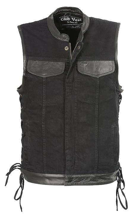 Zipper and Side Laces Mens Black SOA Style Leather Vest w Hidden Snaps