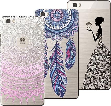 Yokata 3X Coques pour Huawei P8 Lite 2016/2015 Etui Silicone Souple Étui Transparent Case Ultra Fine Mince Housse Protection Antichoc Motif - Mandala ...