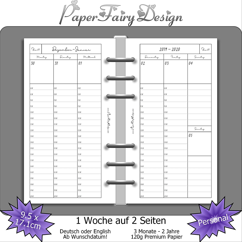 Kalendereinlagen 2020 für Filofax DIN A5 1 Monat 1 Seite beidseitig bedruckt
