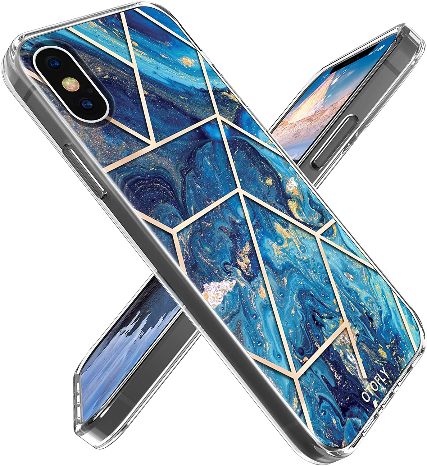 OTOFLY iPhone X Case, iPhone Xs Case,Ultra Slim Thin Stunning Marble Soft TPU Rubber Gel Phone Case Cover Compatible with iPhone X/Xs 5.8 Inch (Navy Blue/Gold)