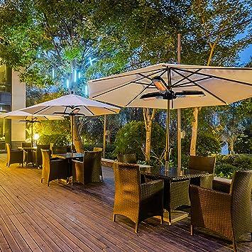 Parasol eléctrico Skypatio, calentador de patio, paraguas eléctrico plegable para exteriores, 3 lámparas de ...