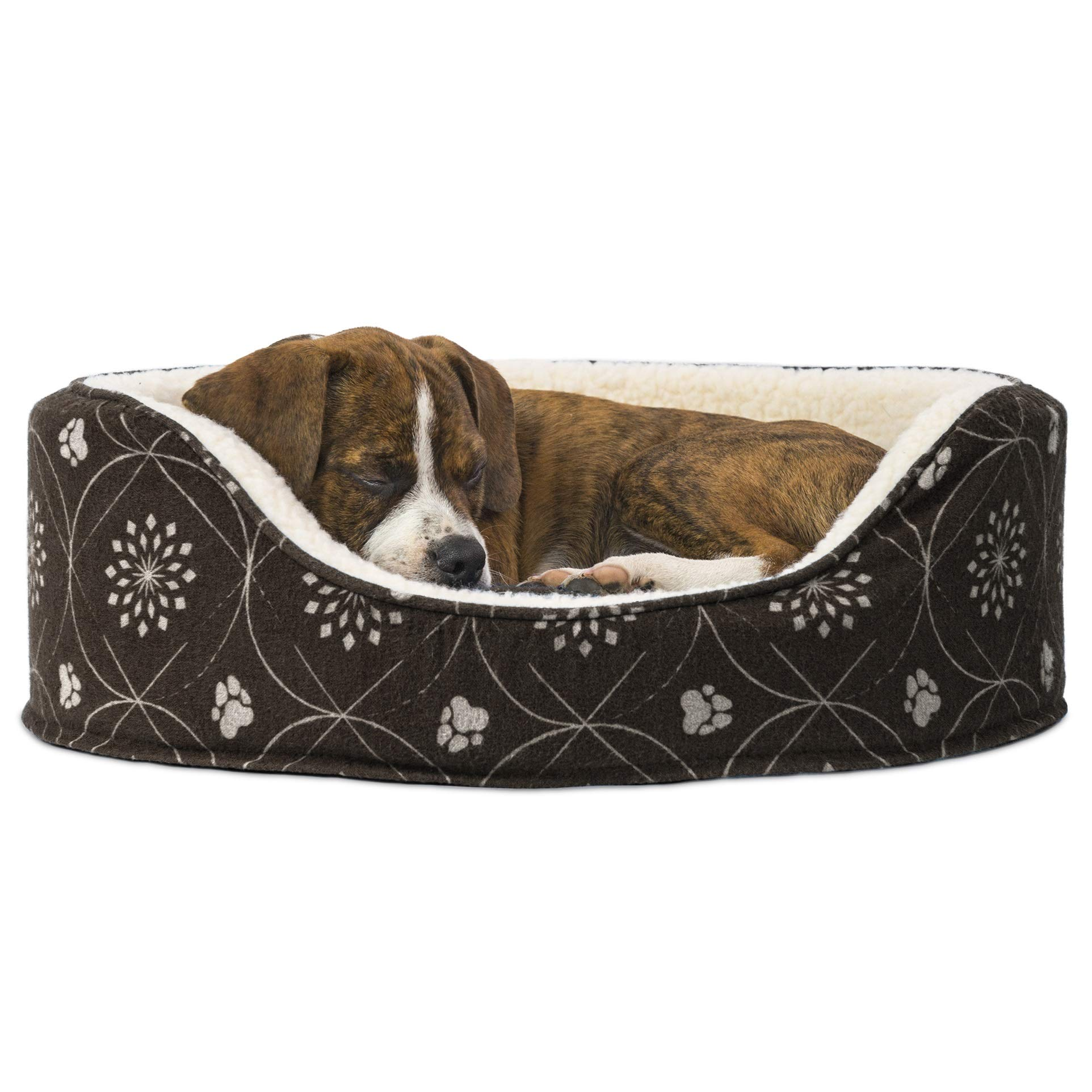 Furhaven Pet – Calming Anti-Anxiety Round Oval Nest Lounger Dog Bed with Removable Base for Dogs & Cats – Multiple…