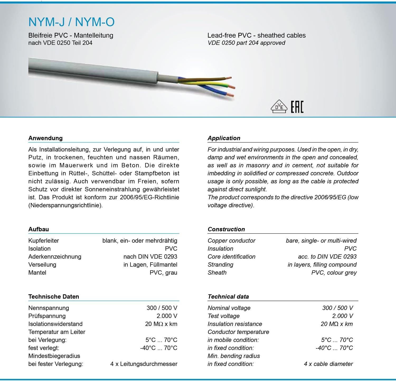 grau-NYM-J 3 x 2,5 mm/²-50m qualit/é de marque fabriqu/é en Allemagne gris M//&/G Techno C/âble /électrique gain/é OFC