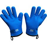 Heat Resistant BBQ Cooking Gloves - Oven Mitts By SBDW. Insulated Silicone With Protective Lining. Versatile & Waterproof For BBQ Grill, Deep Fry, Fire Pit, Campfire & Meat Smoking - 3 Colors (Blue)