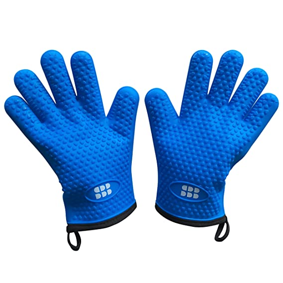 Heat Resistant BBQ Cooking Gloves - Oven Mitts By SBDW. Insulated Silicone With Protective Lining. Versatile & Waterproof For BBQ Grill, Deep Fry, Fire Pit, Campfire & Meat Smoking. 3 Colors (Blue)