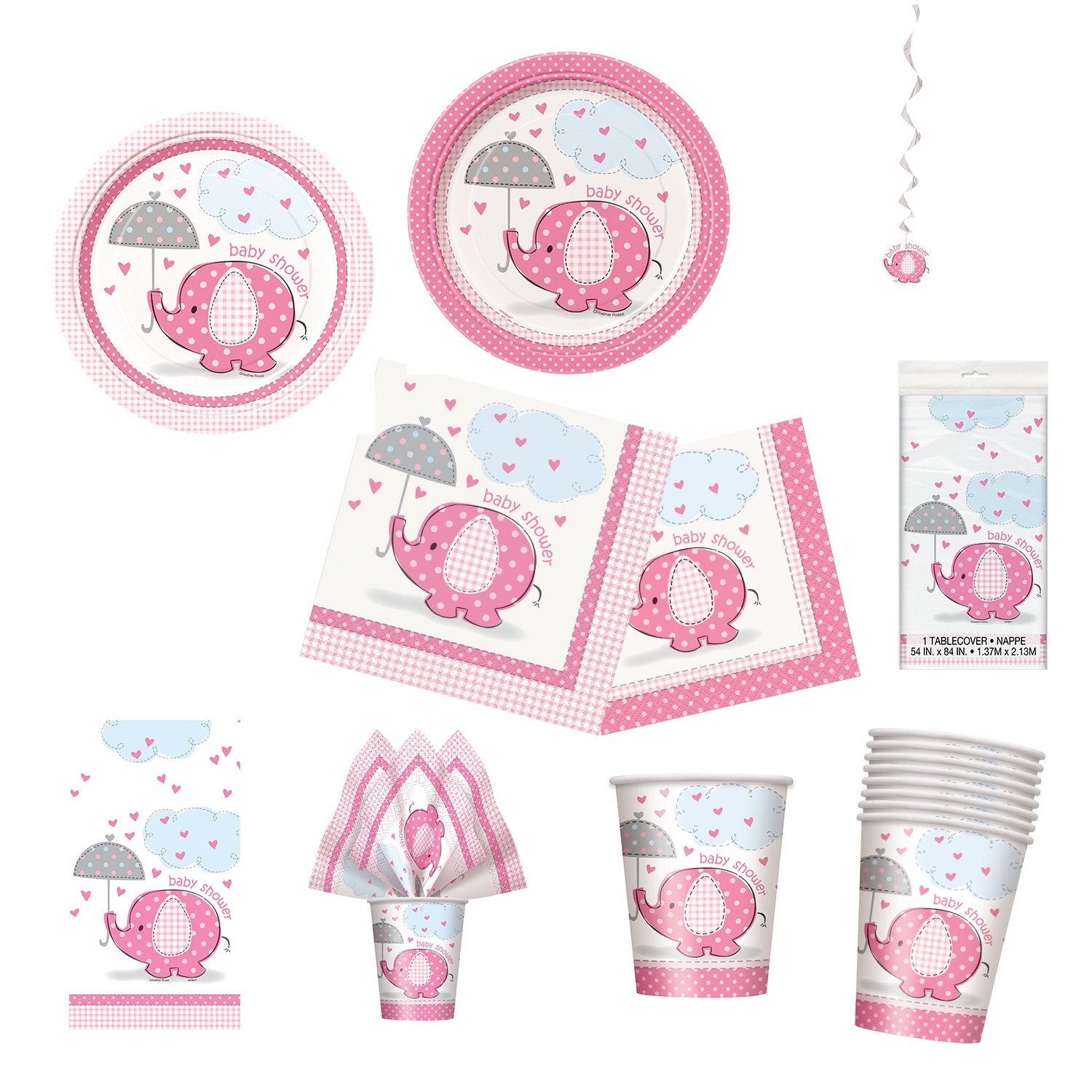 Unique Umbrellaphants Pink Party Bundle | Luncheon & Beverage Napkins, Dinner & Dessert Plates, Table Cover, Cups, Decor | Great for Baby Girl Showers