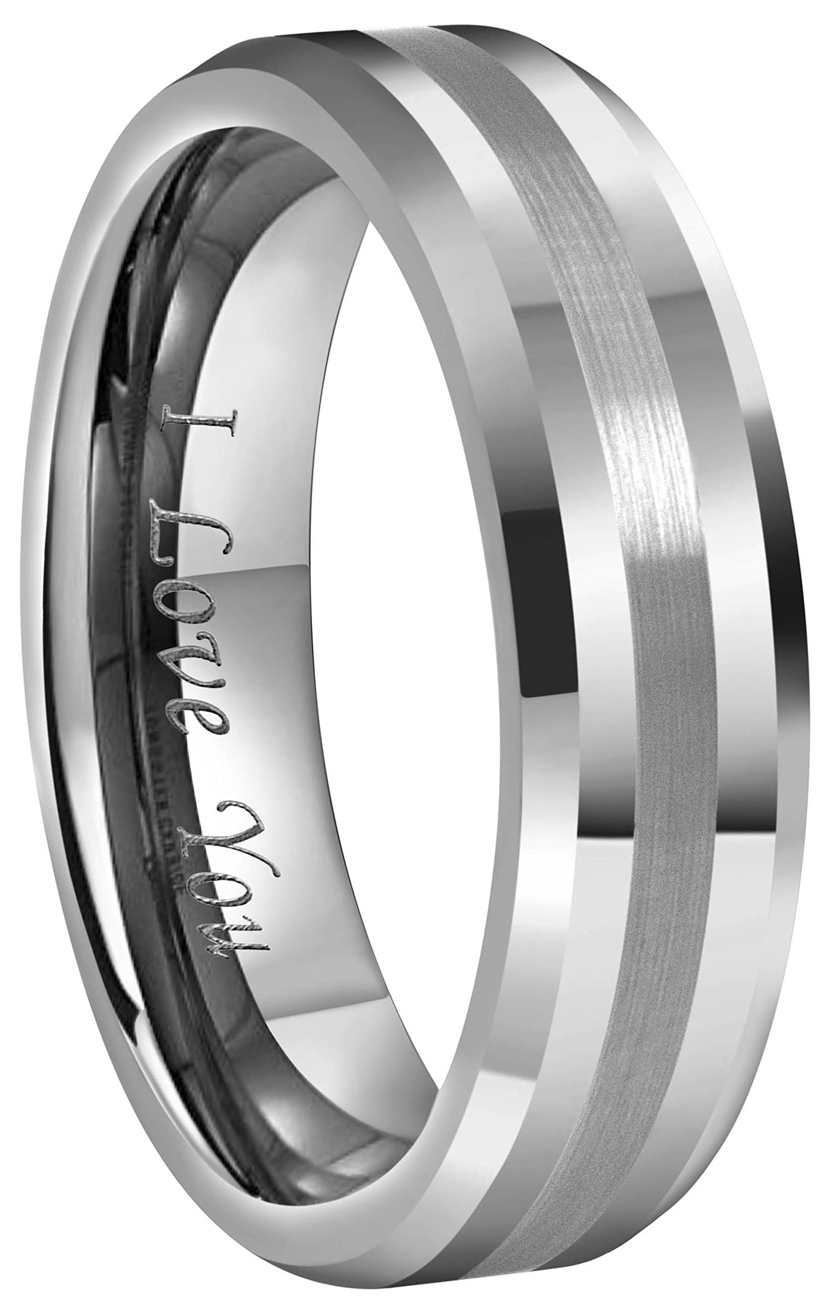 Crownal 6mm 8mm 10mm Tungsten Carbide Wedding Band Ring Engraved ''I Love You'' Men Women Brushed Strip Beveled Edge(6mm,4.5)
