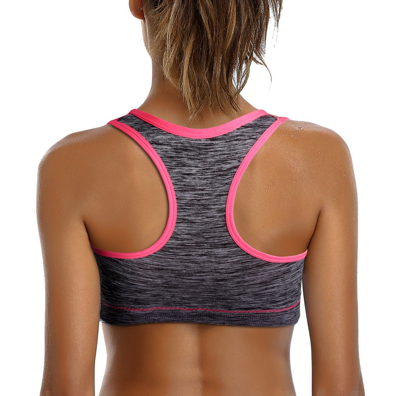 Match Womens Wirefree Padded Racerback Sports Bra for Yoga Workout Gym Activewear #007