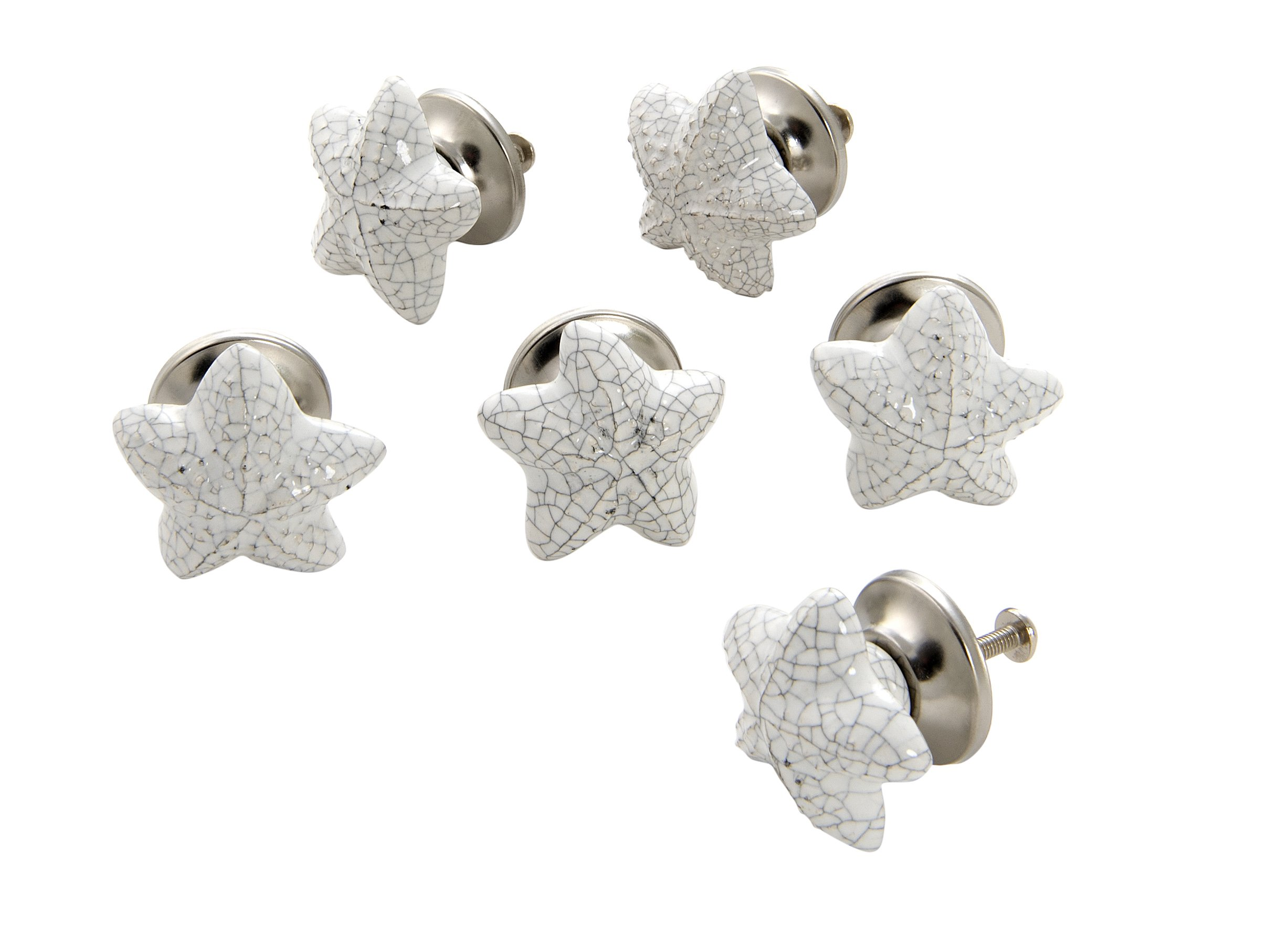 Dritz Home 47014A Ceramic Starfish Knob Handcrafted Knobs for Cabinets & Drawers