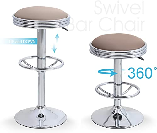 Sophia William Bar Stool Adjustable Height Round Swivel Pub Chair PU Leather with Footrest for Home Kitchen Chrome Plated Base Khaki 2 pcs