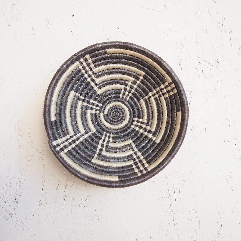 Small African Basket- Malindi/Rwanda Basket/Woven Bowl/Sisal & Sweetgrass Basket/Gray-Blue, White