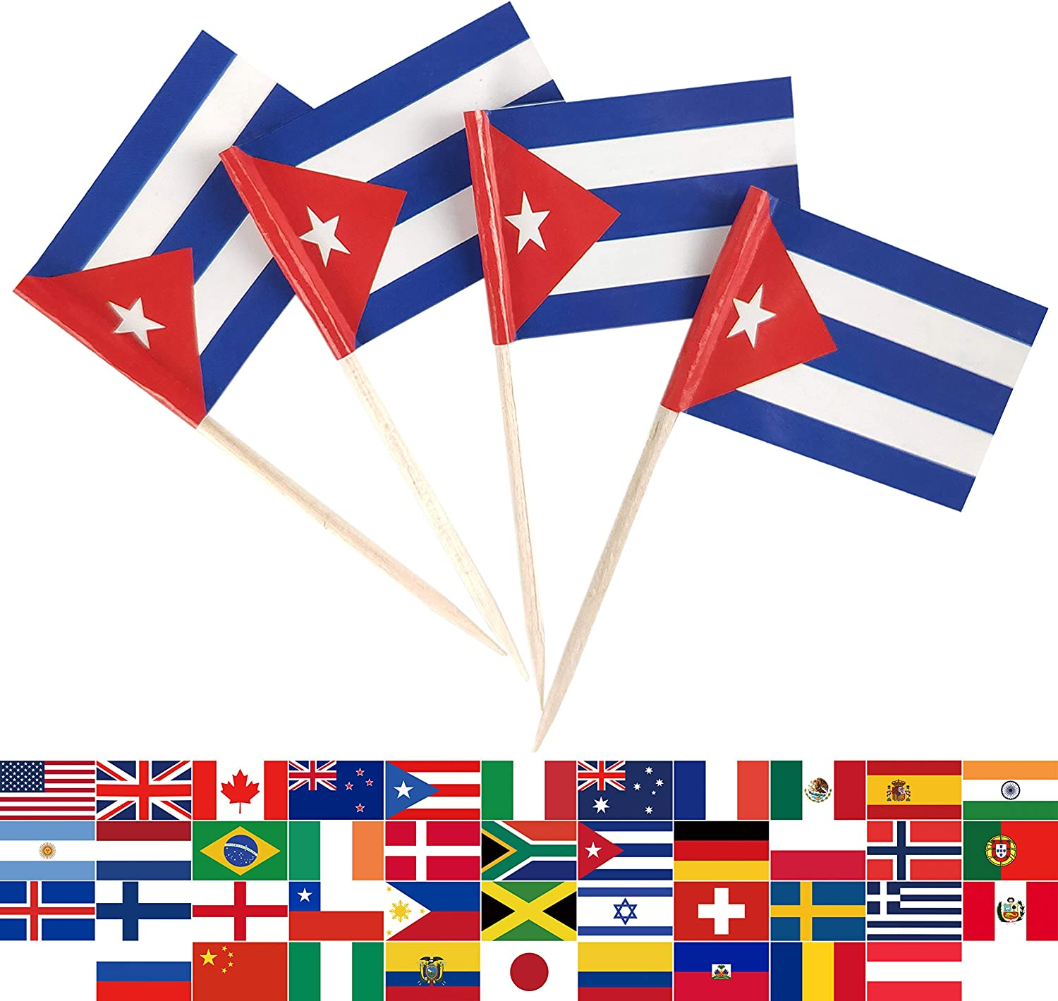 JBCD 100 Pcs Cuba Flag Toothpicks Cuban Flags Cupcake Toppers Decorations, Cocktail Toothpick Flag Cake Topper Picks Mini Small Flag Cupcake Pick Sticks