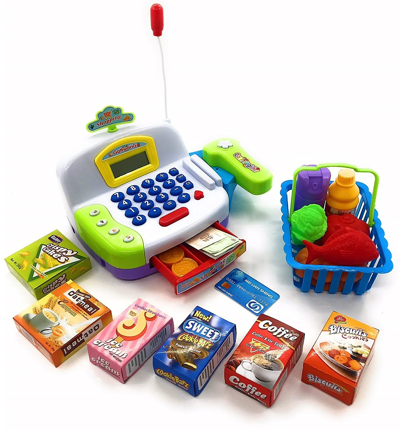 Toy Cash Register Cashier Playset Battery Operated, Kids Pretend Play Set,Colorful Childrens Cash Register w/Microphone, Scanner, Calculator, ...
