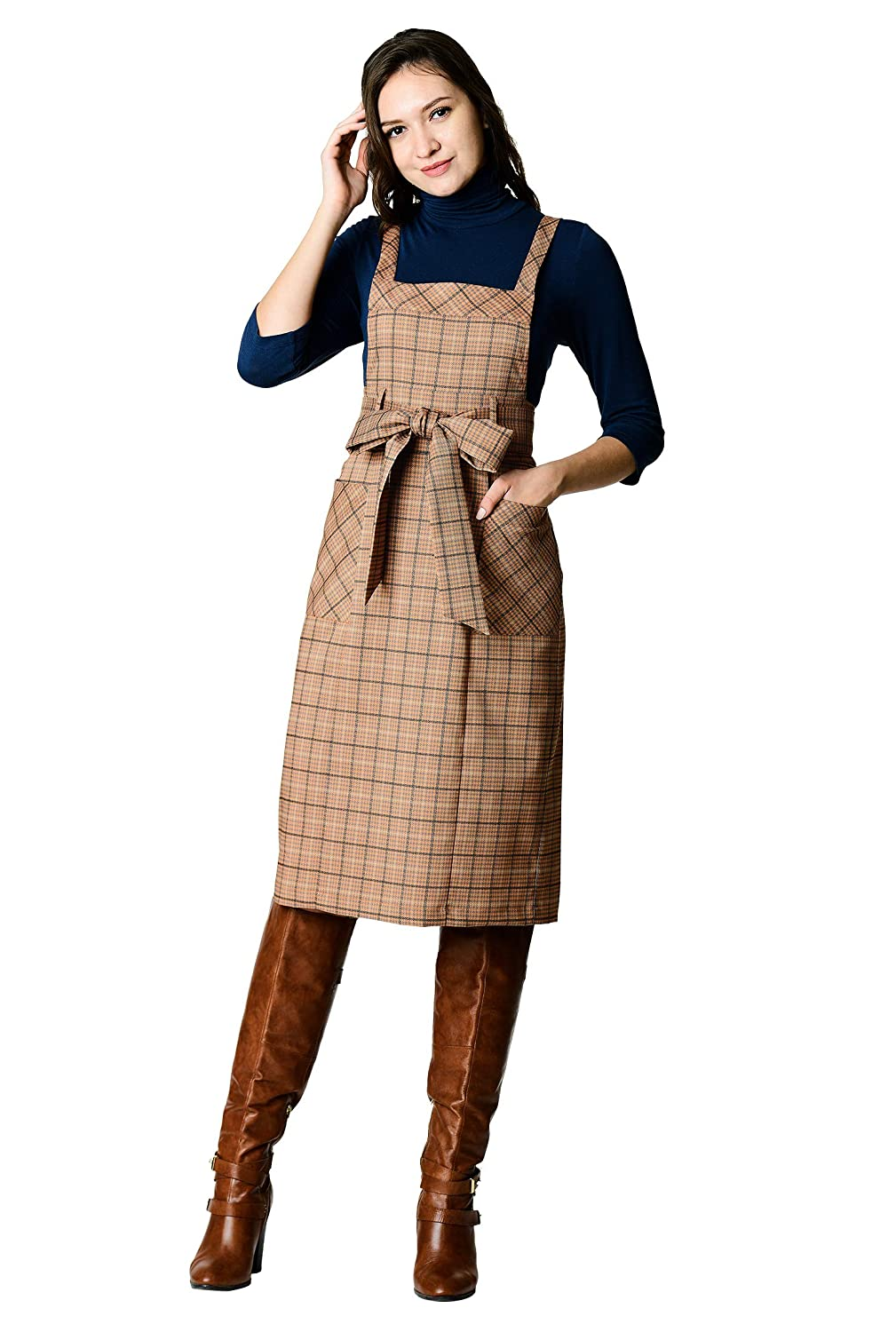 1950s Swing Dresses | 50s Swing Dress eShakti Womens Sash tie Twill Plaid Pinafore Dress $99.95 AT vintagedancer.com