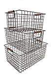 KeKaBox Set of 3 Metal Wire Nesting Storage Baskets