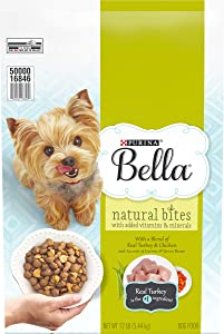 Purina Bella Natural Small Breed Dry Dog Food, Natural Bites With Real Turkey & Chicken - 12 lb. Bag