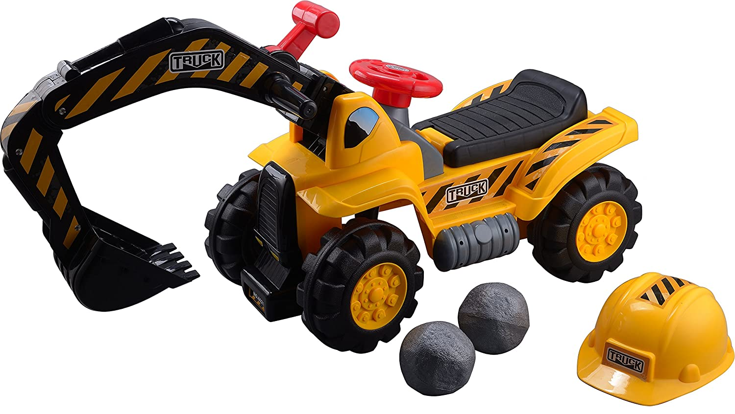 bea6ad481a2fb Play22 Toy Tractors for Kids Ride On Excavator - Music Sounds Digger  Scooter Tractor Toys Bulldozer Includes Helmet with Rocks - Ride On Tractor  Pretend ...