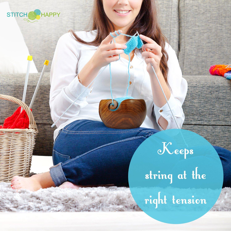 Stitch Happy Yarn Bowl Handmade Extra Large Sheesham Wood with Elegant Design