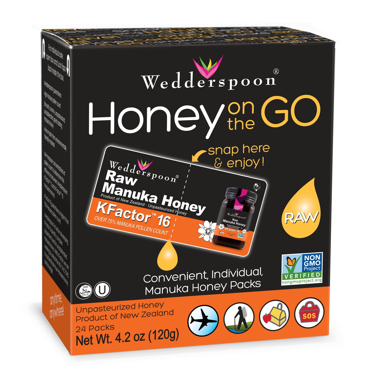 Wedderspoon On The Go Raw Premium Manuka Honey KFactor 16+ Pack, 4.0 Ounce