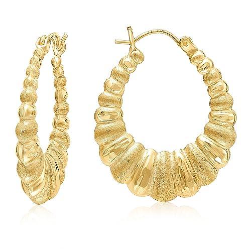 Amazon Com Mcs Jewelry 10 Karat Yellow Gold Shrimp Hoop Earrings